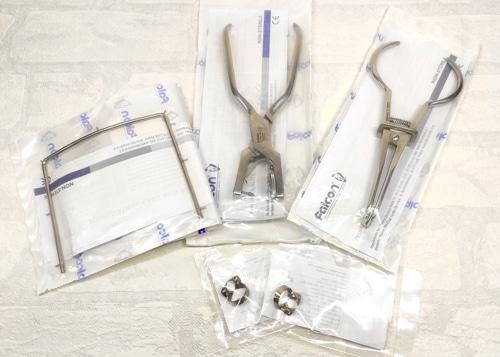 Набор для коффердама: щипцы для установки, щипцы-пробойник, рамка для коффердама, кламера